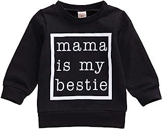 FYBITBO 幼儿婴儿女童运动衫长袖豹纹套头衬衫时尚毛衣秋季服装服装(妈妈是我的闺蜜黑色,12-18 个月)