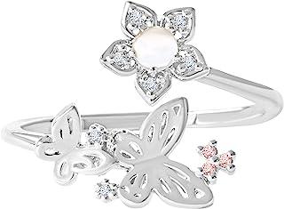 ONDAISY 仿钻 Cz 波西米亚精致蝴蝶花朵天使叶环绕可调节戒指