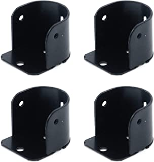 Tulead 4 件套淋浴杆支架铁法兰插座支架衣柜杆支撑支架黑色壁挂式杆支撑支架