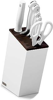 Wüsthof 三叉牌 刀座 Classic White(1090270602),6 件,白色主体,带保温山毛榉木配件,刀具套装带 4 把厨师刀,磨刀钢,剪刀