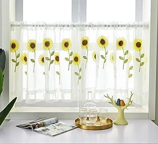 向日葵网半窗帘厨房蕾丝层窗帘,杆袋小酒馆窗帘,适用于厨房浴室窗帘,刺绣窗帘,宽 150 x 长 60 厘米