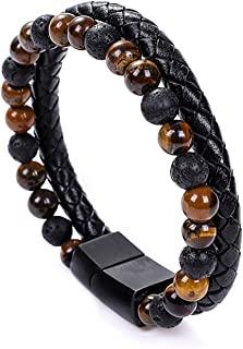 UEUC 男士宝石皮革手链,天然珠真皮袖口手镯,带磁扣,牛皮编织手链