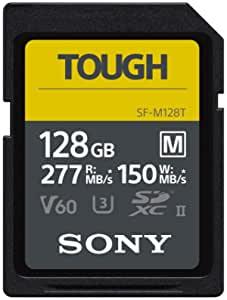 Sony 索尼 128GB SF-M系列 TOUGH 规格 UHS-II U3 V60 SDHXC 数字存储卡-读取277MB / s,写入150MB / s,SFM128T / T1