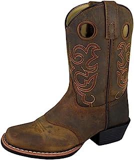Smoky Mountain Childs 西部轿车鞍 SQ 鞋头靴棕色仿旧/真木材迷彩