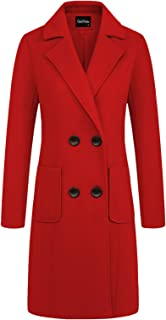 chouyatou 女式优雅缺口领双排扣羊毛混纺外套