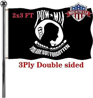 Jayus 3 Ply Pow Mia Flag 2x3 户外双面耐用涤纶黑色母牛旗帜横幅 - You Are Not Forgotten Prisoner of War Flag- 纪念退伍军人,武装*,2 个索环