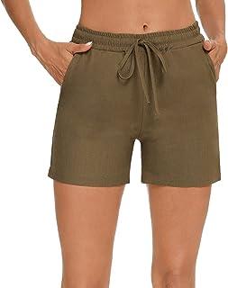 Akalnny 女式松紧腰短裤带口袋休闲抽绳舒适短裤夏季跑步锻炼瑜伽棉短裤