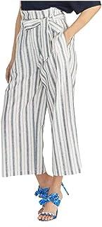 RACHEL ROY 女式条纹纸包亚麻混纺休闲裤