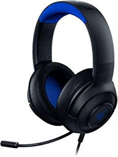 Razer 雷蛇 Kraken X 超轻游戏耳机:7.1环绕声 - 轻便框架 - 集成音频控制 - 可弯曲的心形麦克风 - 适用于PC、Xbox、PS4、Nintendo Switch - 蓝色/黑色