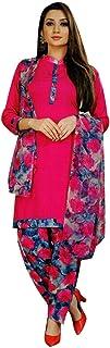 ladyline 女式即穿Salwar Kameez 人造绉纱印花印度缝制纱丽西装 Pink (34) 46
