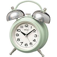 Seiko 精工 时钟 台式时钟 01:浅绿色 主体尺寸:17.8×14.2×8.4厘米 闹钟 模拟 双铃 复古KR50…