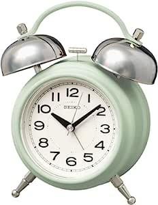Seiko 精工 时钟 台式时钟 01:浅绿色 主体尺寸:17.8×14.2×8.4厘米 闹钟 模拟 双铃 复古KR508M
