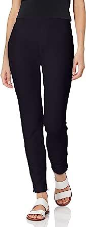 SLIM-SATION 女式套穿式假前口袋修身纯色 Ponte 及踝打底裤