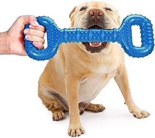 Feeko 狗狗玩具 适合进攻性咀嚼者 大品种 15 英寸(约 38.6 厘米)互动骨头 耐用坚不可摧的狗狗玩具 凸面设计 天然橡胶战争玩具 适合超大型犬(蓝色)
