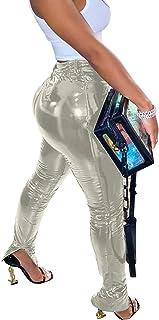 Aro Lora 女式 PU 人造皮革高腰开叉打底裤紧身裤派对俱乐部