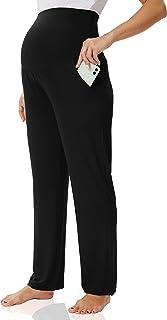 Foucome 女式孕妇休闲裤舒适运动裤 超柔软直筒瑜伽睡裤