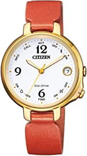 Citizen 西铁城 女士模拟数字太阳能手表带皮革表带 EE4012-10A