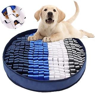 Ameagry 狗狗狗垫, 狗狗喂食垫,用于气味训练和慢食宠物互动狗和猫拼图玩具鼓励自然觅食技能和*(蓝色和白色)