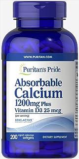 Puritan's Pride可吸收钙与维生素D 3,1000 IU软胶囊,1200毫克,200粒