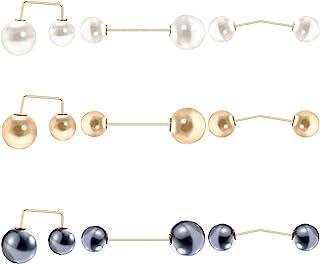 Lebsitey 9 件时尚人造珍珠胸针*别针领毛衣披肩夹适合女士女孩婚礼派对装饰防暴上衣领口*别针,3 种款式,3 种颜色