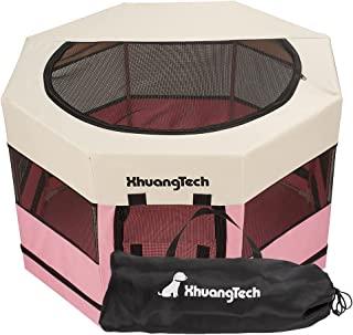 XhuangTech 宠物便携式可折叠宠物狗猫游戏围栏箱锻炼笔狗/高级 600D 牛津布,可拆卸拉链顶,室内/室外使用(73.66 厘米 x 73.66 厘米 x 45.04 厘米,粉色)
