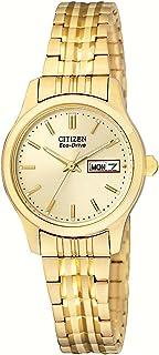 Citizen 女士 Eco-Drive 弹性表带金色手表 #EW3152-95A