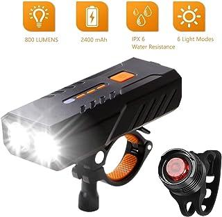 WINDFIRE 自行车灯套装 USB 可充电,超亮自行车灯,防水自行车前照灯和尾灯,6 种灯光模式 LED 自行车灯,适用于所有山地/公路自行车 - 易于安装