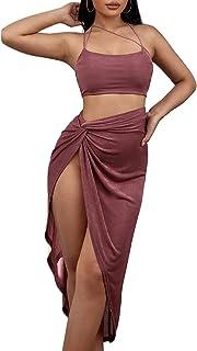 SheIn 女式两件套系带露脐吊带上衣扭开大腿裙套装