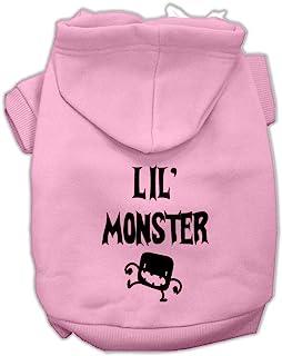 Mirage Pet Products Lil Monster 丝网印花宠物连帽衫 粉红色 3X-Large
