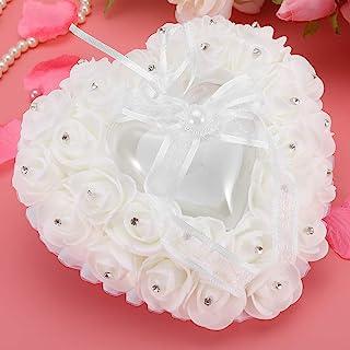 AMONIDA 结婚戒指枕 结婚戒指枕 浪漫精致小巧设计 心形设计 柔软 轻便 办公室 家庭 婚礼 客厅 白色