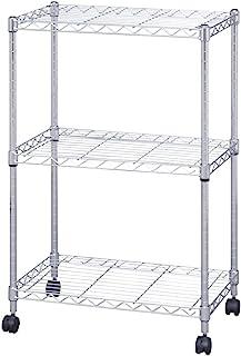 アイリスオーヤマ(IRIS OHYAMA) 置物架 金属架 3层 带脚轮 防锈加工 杆直径19毫米 宽55×深35×高83厘米 金属架 钢架 防锈性强 银 SEM-5508