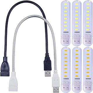 6 件便携式迷你 8-LED SMD 5730 USB 灯 5V 夜灯 户外野营灯泡 冷/暖白色 带 2 个 USB 管