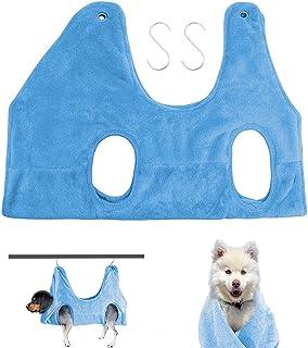 WOWU 狗狗吊床助手宠物*吊床狗*吊床束带袋用于沐浴、洗脸和修剪*(中号,蓝色)