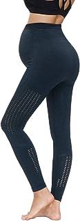 Maacie 孕妇打底裤高腰无缝瑜伽裤镂空弹力锻炼运动裤