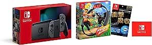 任天堂 Nintendo Switch机体(任天堂Switch) Joy-Con(L)/(R)灰色+【任天堂许可商品】Nintendo Switch*液晶保护膜 多功能+环贴 冒险 (【Amazon.co.jp限定】Nintendo Switch 标志设计 超细纤维布 同包装)
