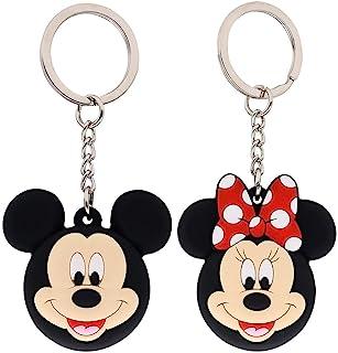 2 件装可爱卡通硅胶钥匙扣,适用于 AirTag ,硅胶防刮保护皮套,带钥匙圈米妮米老鼠 2 件装 (#3)