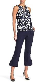 Trina Turk 女式旅游棉质竹节褶皱下摆流浪裤靛蓝 8 码
