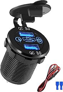 [ 2021 年新款] 双 USB 快速充电 3.0 和 PD 车载充电器,3 个端口 USB 12/24V 铝制插座,带开/关触摸开关,QC3.0 12v 插座,适用于海洋船舶摩托车、卡车、高尔夫球车、RV 等