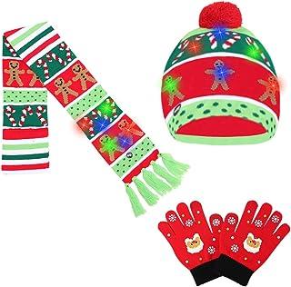 Fimcosy 3 件 LED 无檐*帽套装点亮圣诞针织帽围巾冬季针织触摸屏手套,适合男孩女孩