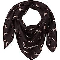 Karl Lagefeld Paris 女士 Karl Lagerfeld 巴黎猫派对丝绸和棉围巾,黑色,1 码