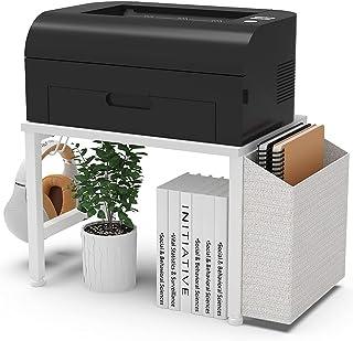 VEDECASA 白色木制桌面打印机支架,带储物箱挂钩,适用于家庭办公室,多功能收纳台下现代木制打印机架,带可调节防滑垫(白色)