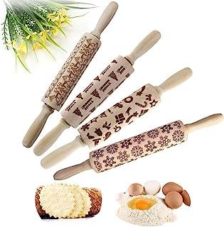 圣诞木制擀面杖,雕刻压花卷别针,圣诞图案,用于烘焙浮雕饼干,圣诞节符号烘焙饼干(4 件)