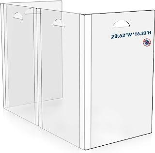 Sneeze Guard 桌罩 - 便携式和透明保护屏障,适用于柜台餐桌学生隔板,易于清洁和携带*佳隔板,适用于课堂或办公室 23 英寸宽16 英寸高