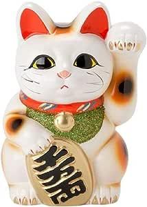 白 椭圆形猫 招财猫 常滑烧 白色 6号 -