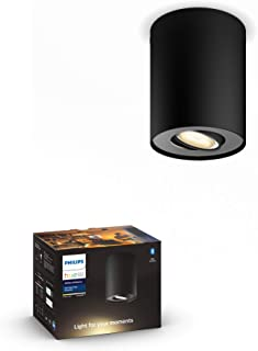 Philips 飞利浦 Hue 白色 Amb.LED 1 个射灯Pillar,黑色,可调光,白光氛围,可通过App控制,与Amazon Alexa兼容 (Echo, Echo Dot)