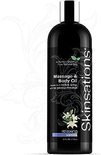 Skinsations - 香草按摩和身体油 - 16 盎司(约 453.6 克)  轻盈丝滑柔软混合,可食用甜杏仁、分馏椰子、葡萄籽和荷荷巴油,天然香草口味