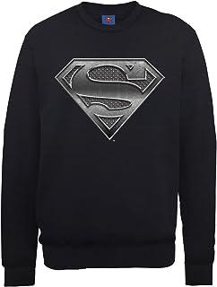 DC Comics 男式 DC0000996 官方超人钢板标志圆领长袖运动衫