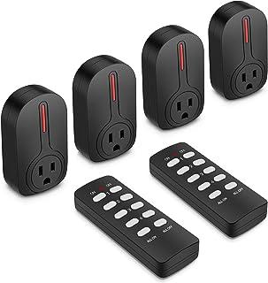 BESTTEN 无线遥控插座开关套装(4 个插座,2 个遥控器)110英尺范围,学习码,家庭自动化套装,ETL 认证 2.黑色 USR-4A2R-1