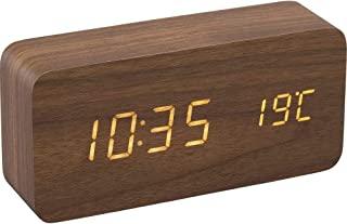 IRIS OHYAMA 闹钟 数码 台式时钟 木制 时尚 简约 棕色 ICW-01W-T