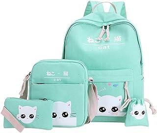 4 件套背包套装适合青少年女孩日式和韩式风格包可爱猫帆布书包